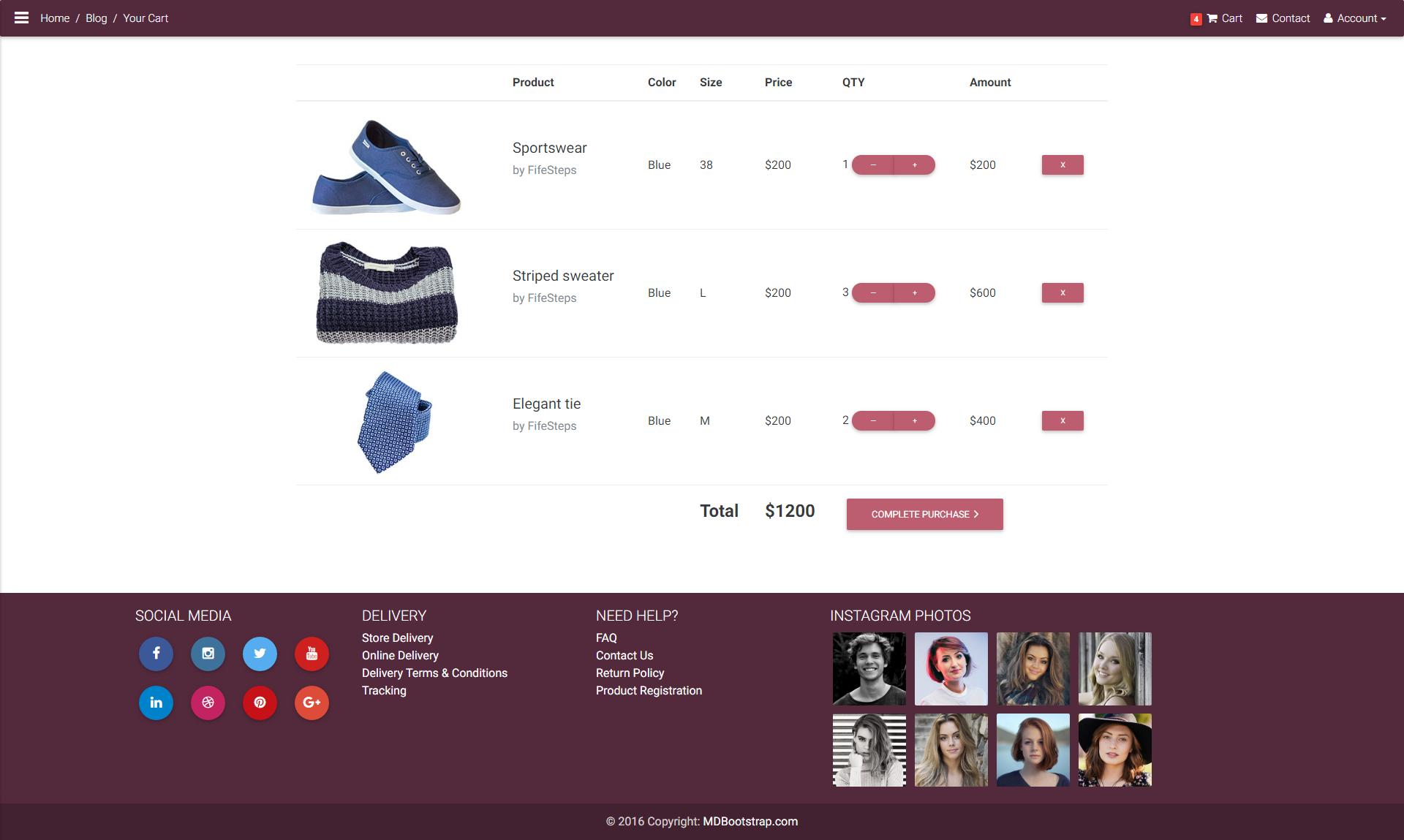 Material Design E Commerce Shopping Cart Template Ecommerce Template Material Design Templates