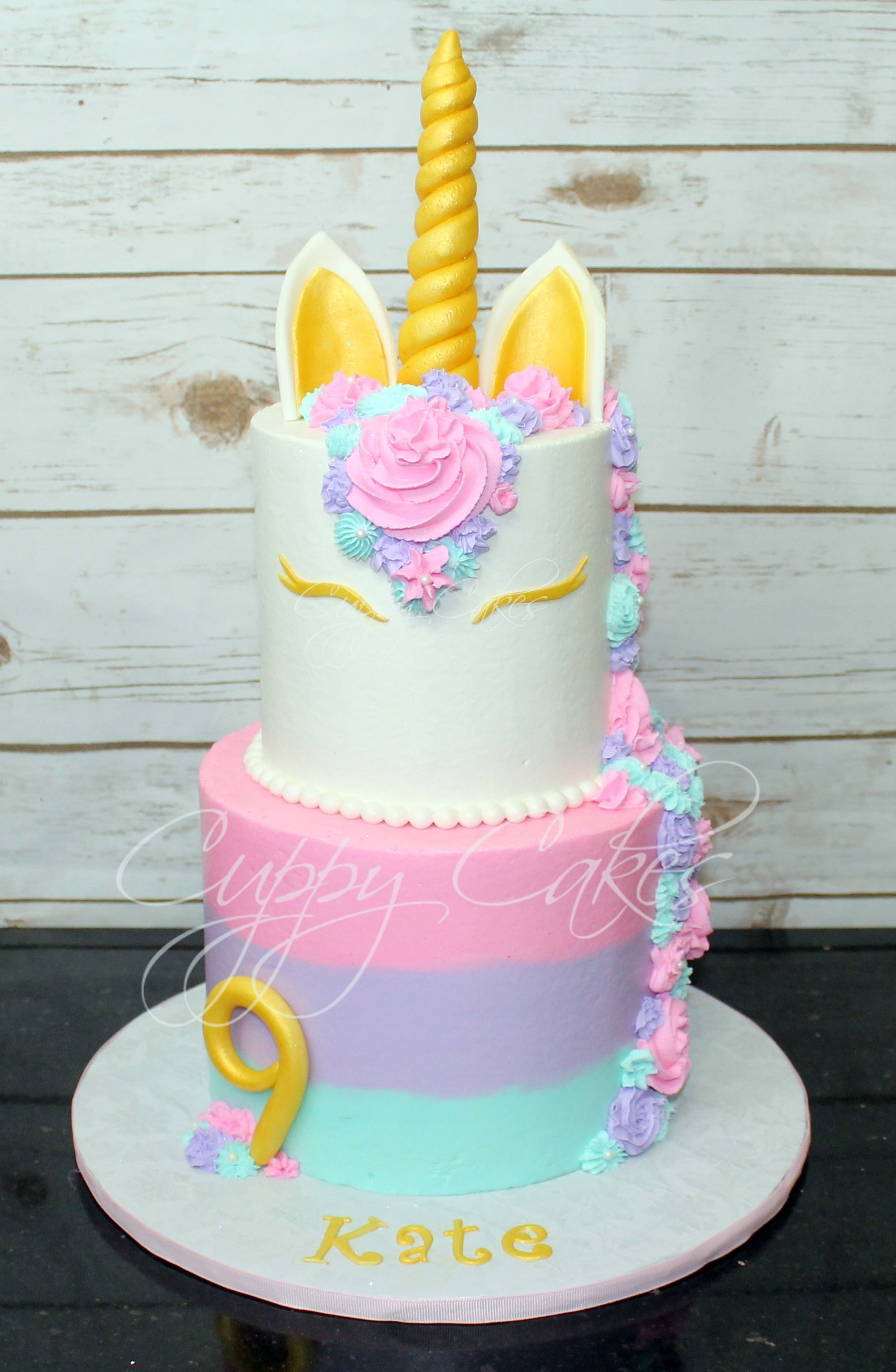 Pink Purple And Blue Ombre Buttercream Unicorn Cake With Fondant Accents Purple Cakes Birthday Unicorn Birthday Cake Unicorn Cake