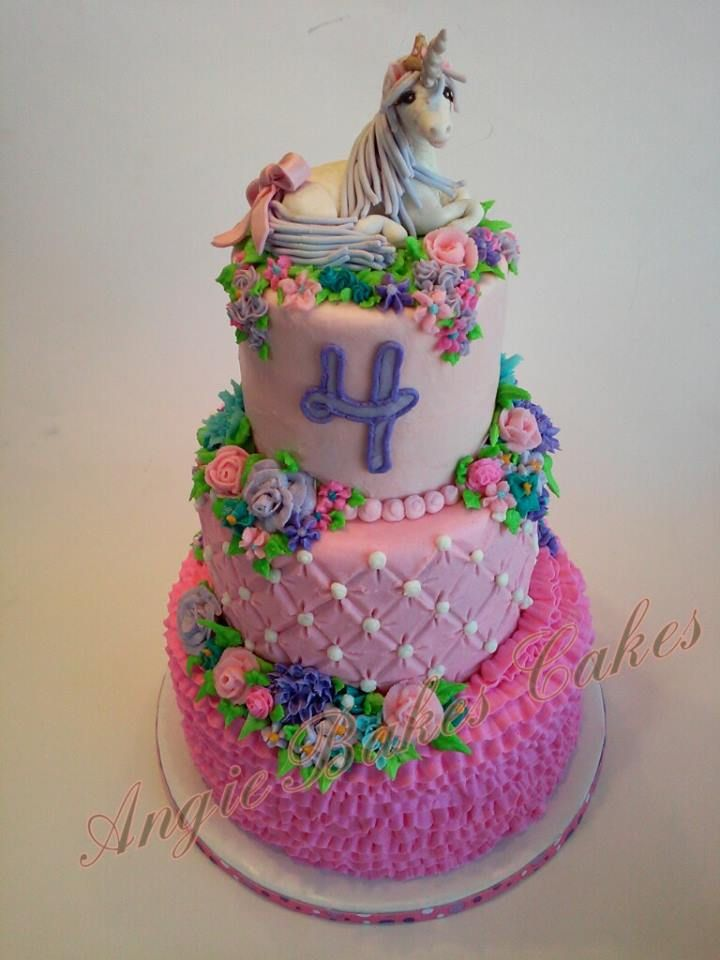3 Tier Unicorn Princess Cake All Buttercream Decorations With Hand Crafted Topper
