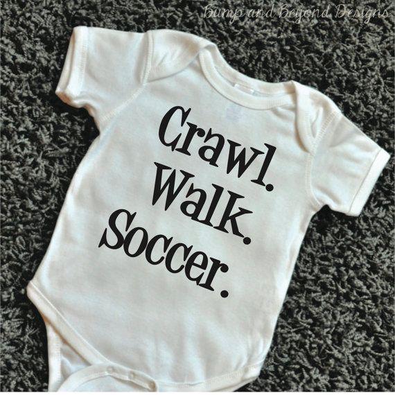4cc43c1bdf3b Crawl Walk Soccer Baby Bodysuit Baby by BumpAndBeyondDesigns