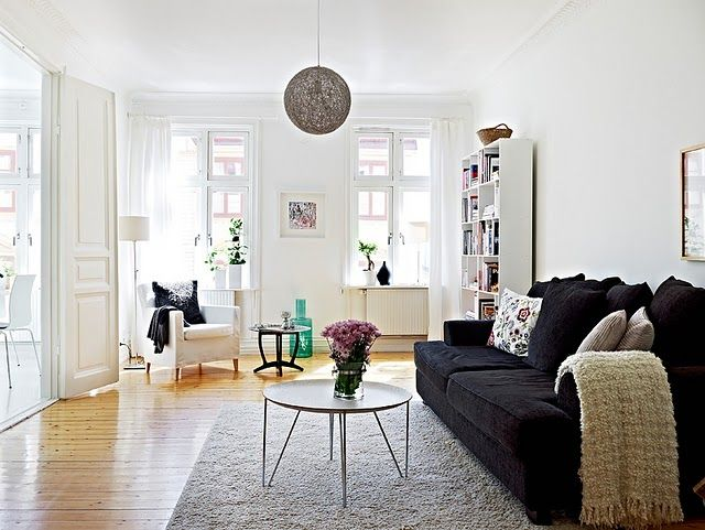 Best Livingroom Black Sofa White Walls And Furniture Living 400 x 300