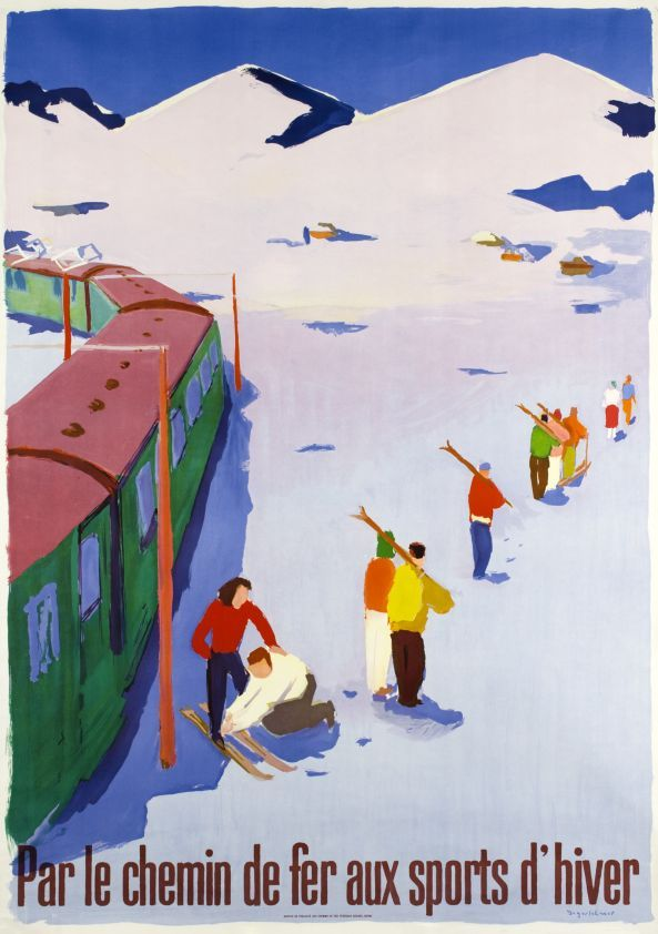 "Par le chemin de fer aux sports d'hiver (Jegerlehner Hans / 1950) Large Swiss size poster ""By the train to the Wintersports"" for the Swiss National Railway Company, CFF - SBB. A beautiful skiing poster by the painter Hans Jegerlehner, finely printed in stone lithograph."
