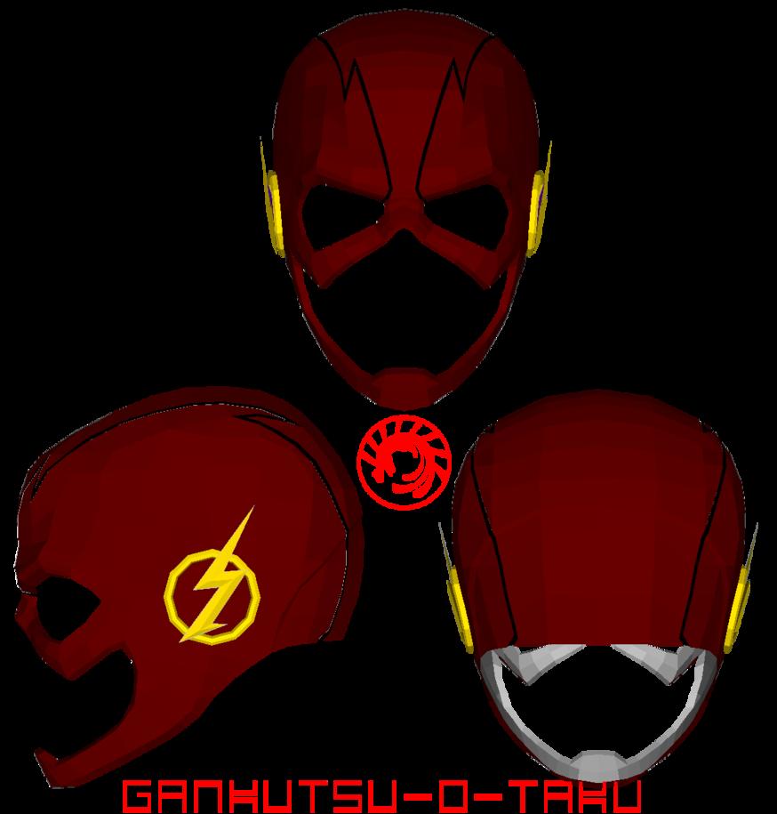 Cw The Flash Mask Pepakura By Gankutsu O Taku The Flash Mask Papercraft Download Paper Crafts