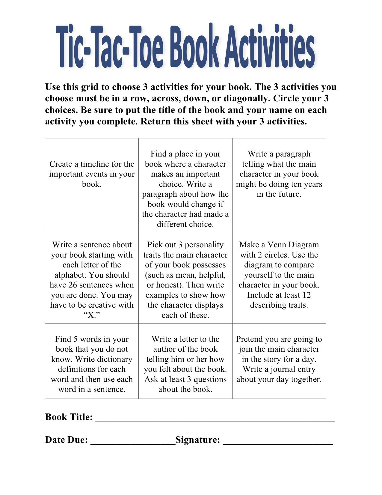 Alternative Idea To A Book Report