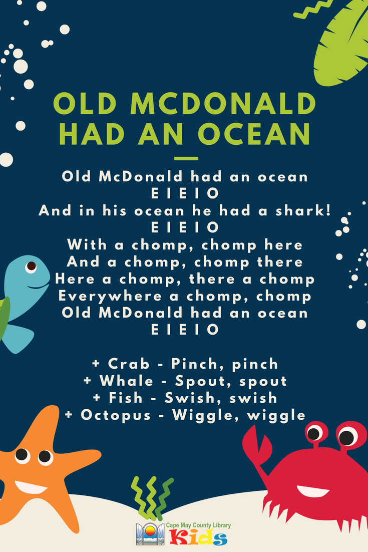 Old McDonald had an ocean | Classroom songs, Songs for toddlers