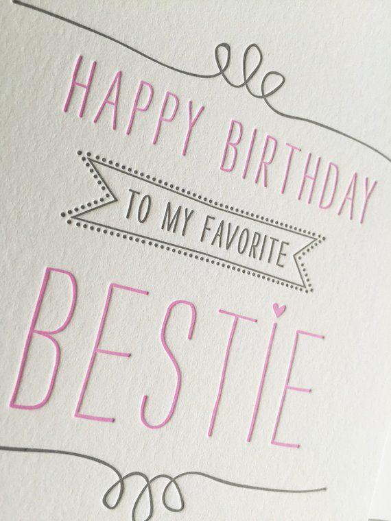 Birthday Card for Best Friend Card Best Friend Birthday Card Letterpress Birthday Card for BFF, Bestie, Girlfriend