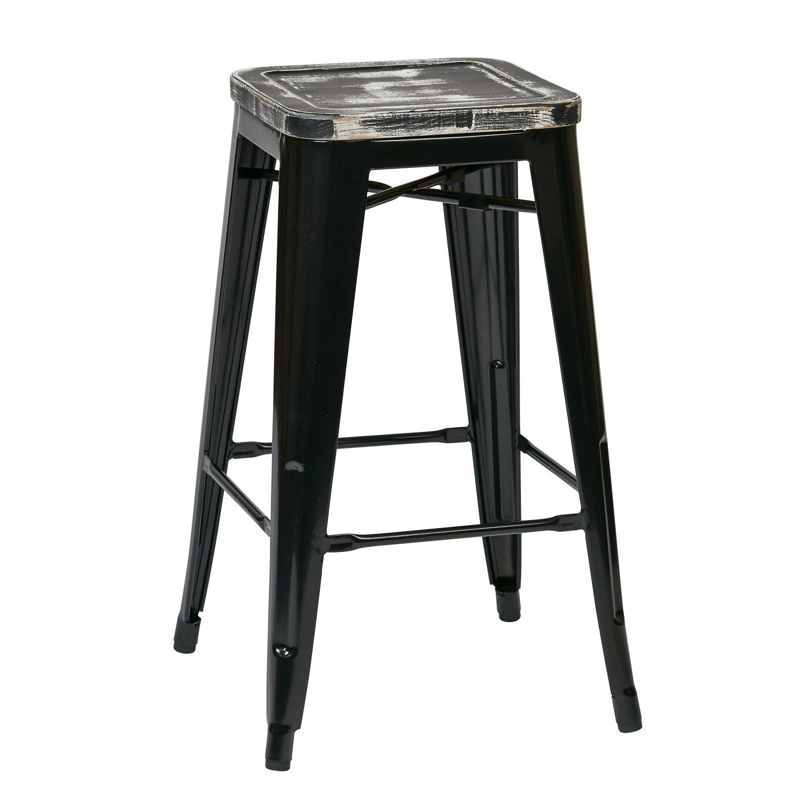 Osp Designs Bristow 26 In Metal Counter Stool With Vintage Wood Seat Metal Bar Stools Metal Counter Stools Black Bar Stools 26 inch metal bar stools