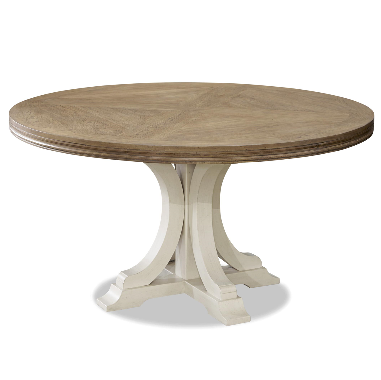French Modern White Wood Pedestal Round Dining Table Dining