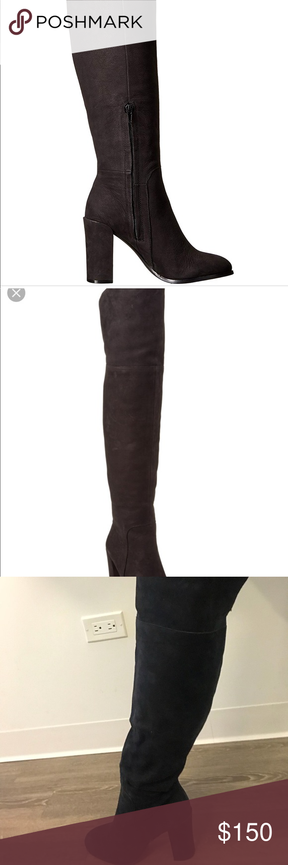 609fb3b484d Kenneth Cole Leather Over-the-Knee Boots Black Kenneth Cole Jack Nubuck leather  over the knee boots. Block heel. Round toe. Side zipper pull on.