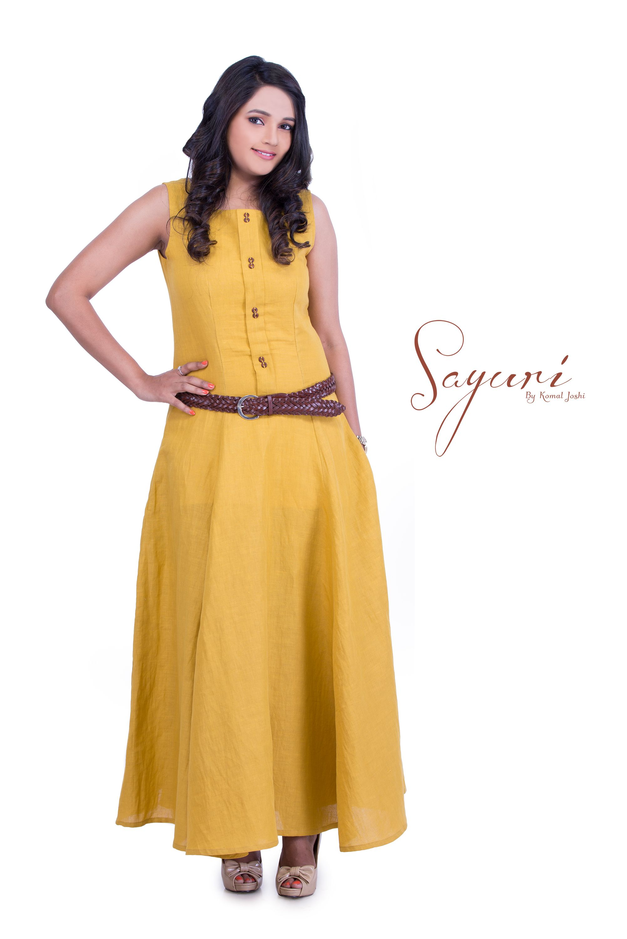 839daff758a Cotton Linen Ocar long dress worn with a belt. Find this Pin and more on Sayuri  Design Studio ...