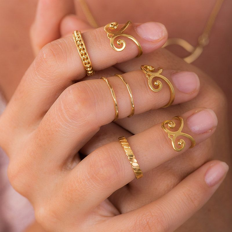 Boho Midi Ring Set 2 Gold Knuckle Ring Gold Midi Rings