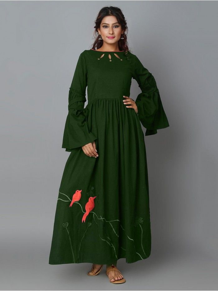 1939e4aa722db Green Khadi Cotton Hand Embroidered Maxi Dress | Traditional ...
