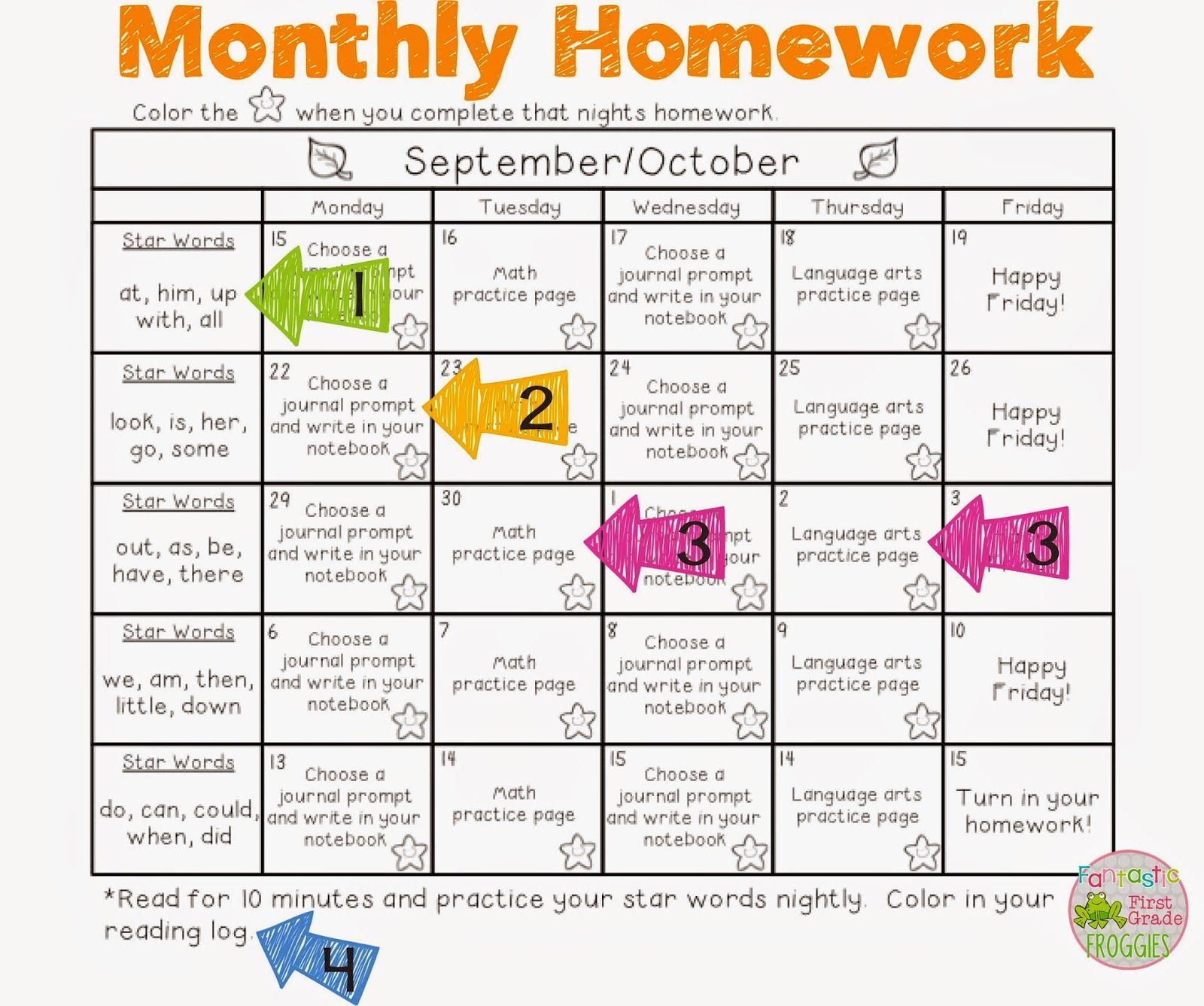 Monthly Homework Packets The Way We Roll With Homework In First Grade