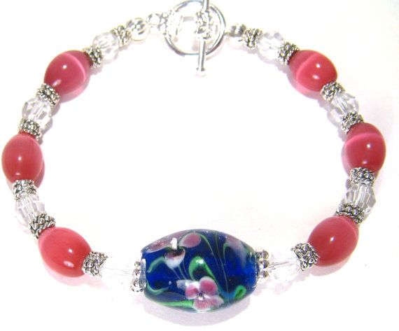 Pink Treasure Crystal Bracelet by BrankletsNBling on Etsy,