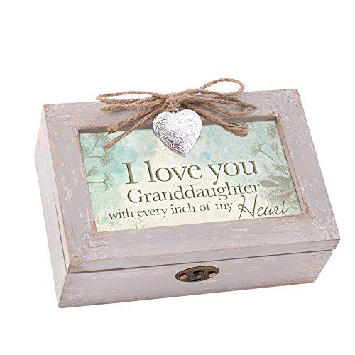 Granddaughter Jewelry Box Entrancing Love You Granddaughter My Heart Wood Locket Jewelry Music Box Design Decoration