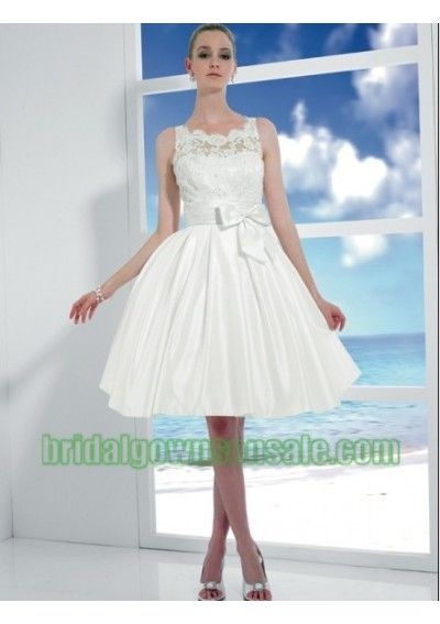 Simple Beach Short Knee Length Wedding Dresses With Elegant Bow Wh