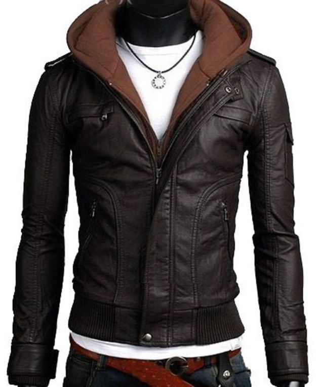 Handmade Men Brown Fabric Hooded Leather Jacket - UK Merchant Only: 115.00 €