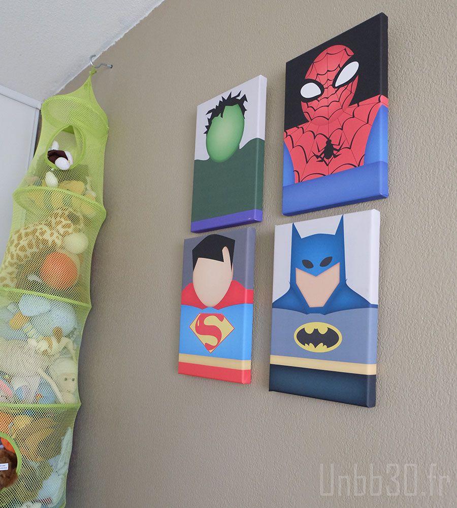chambre enfant garçon tableaux marvel vintage spiderman batman