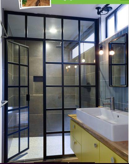 French Window Used As Shower Divider Modern Bathroom Design