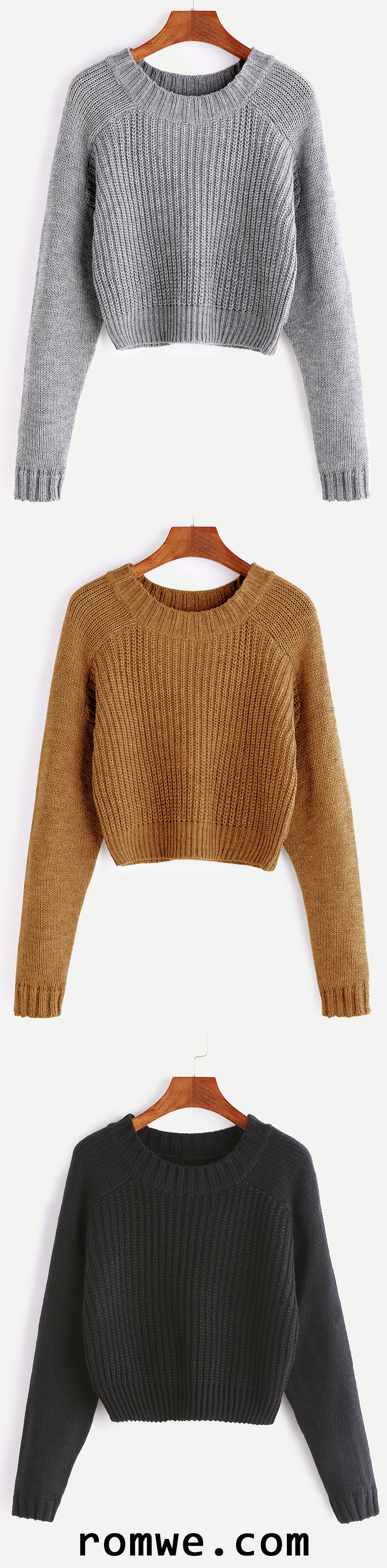 Raglan Sleeve Crop Sweater