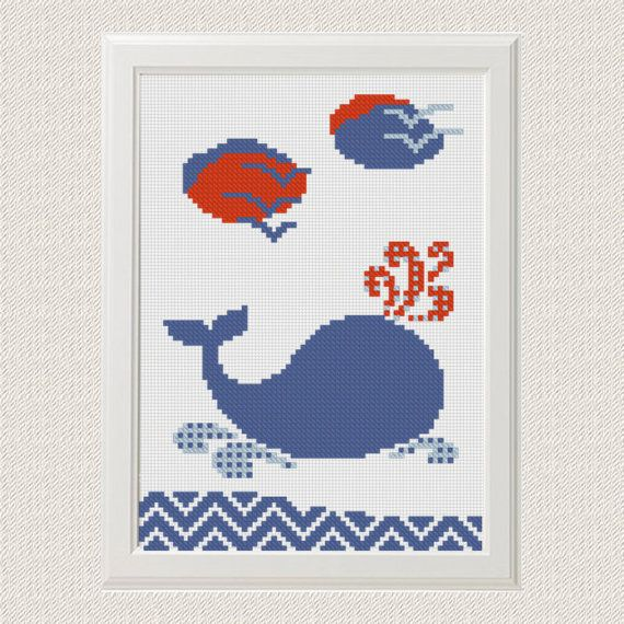Whale cross stitch pattern, Nautical baby cross stitch, Nursery ...