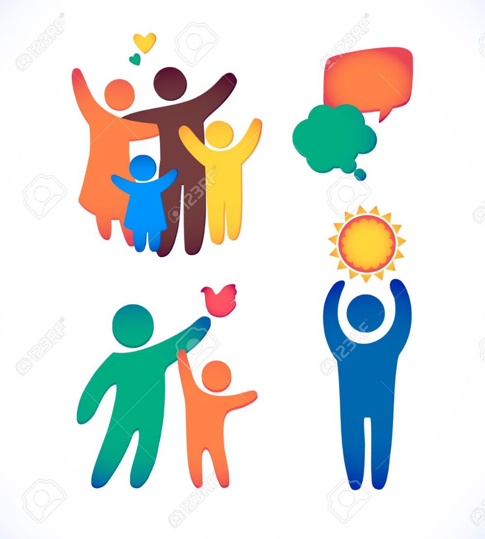 Happy Family Icon Multicolored In Simple Figures Set Children Family Logo Happy Family Family Vector