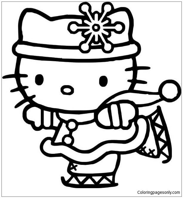 Hello Kitty Ice Skating 1 Coloring Page | Hello Kitty Coloring ...