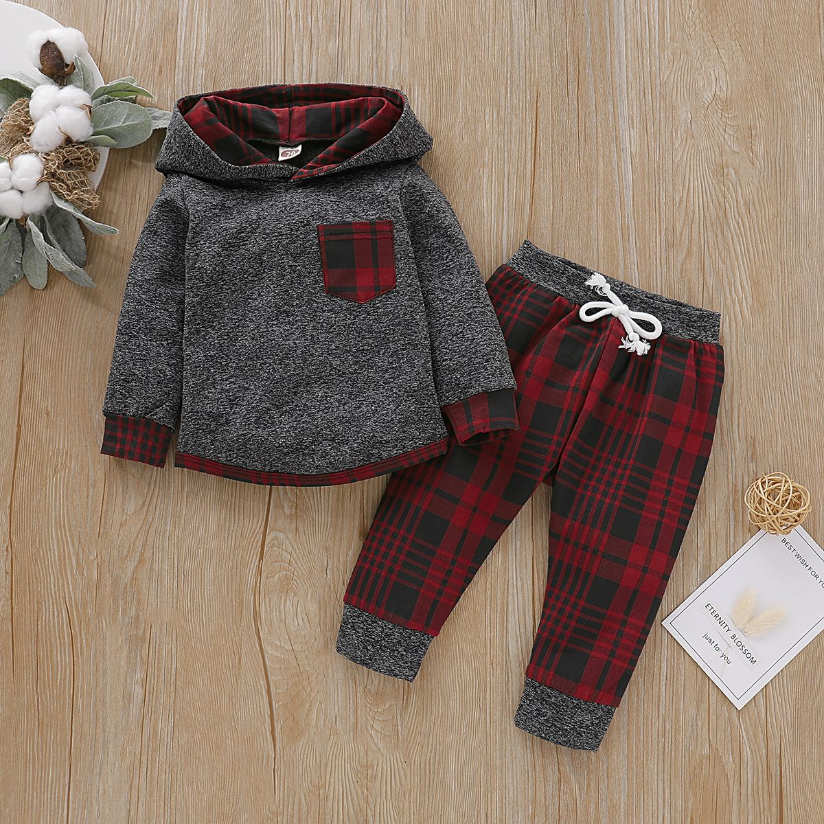 Photo of Baby Boy Trendy Plaid Long-sleeve Hoodie and Pants Set #Trendy, #affiliate, #Pla…