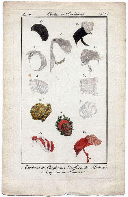 1802 - An 11 Costume Parisien plate 436 Turbans Coeffures Capotes