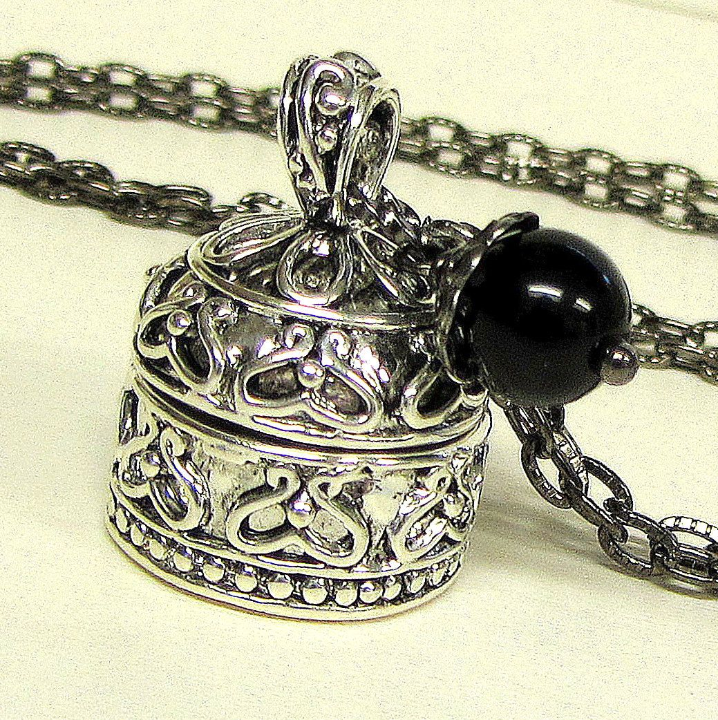 Dome Locket Wish Box Prayer Box Necklace Hidden Compartment Jewelry