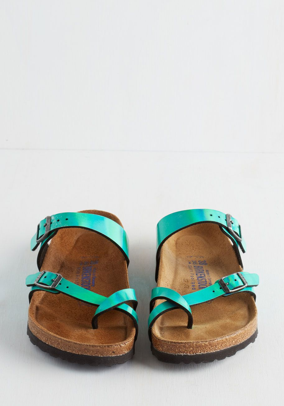15b2ea02478 Iridescence of Wonder Sandal. Step into these Mayari sandals by Birkenstock  and get swept up in their captivating qualities.  green  modcloth