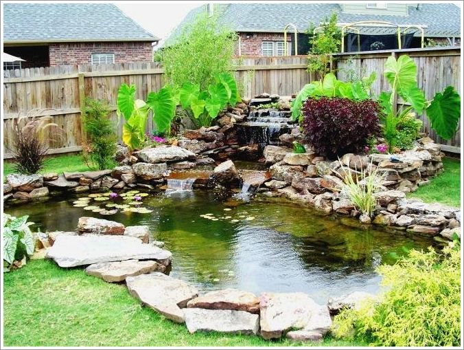 Image detail for backyard with small pond pictures 02 for Garden pond waterfall ideas