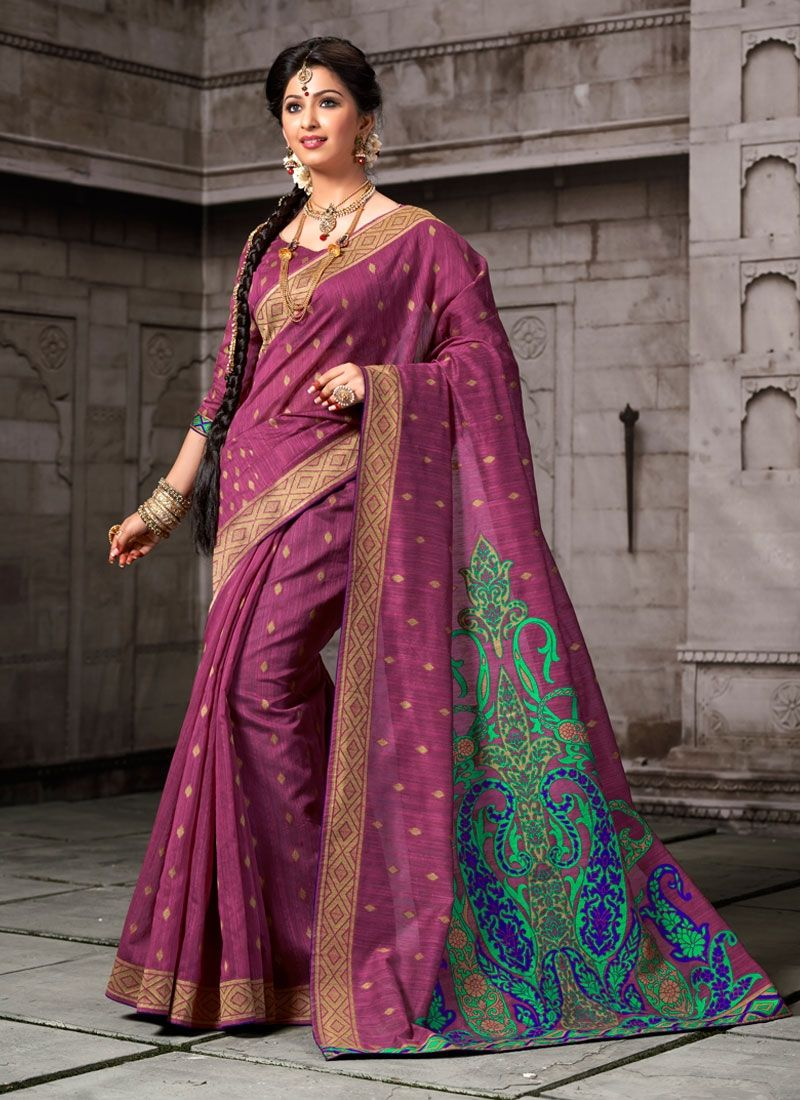 Saree for freshers party in college an fantastic wine cotton designer saree will make you appear very
