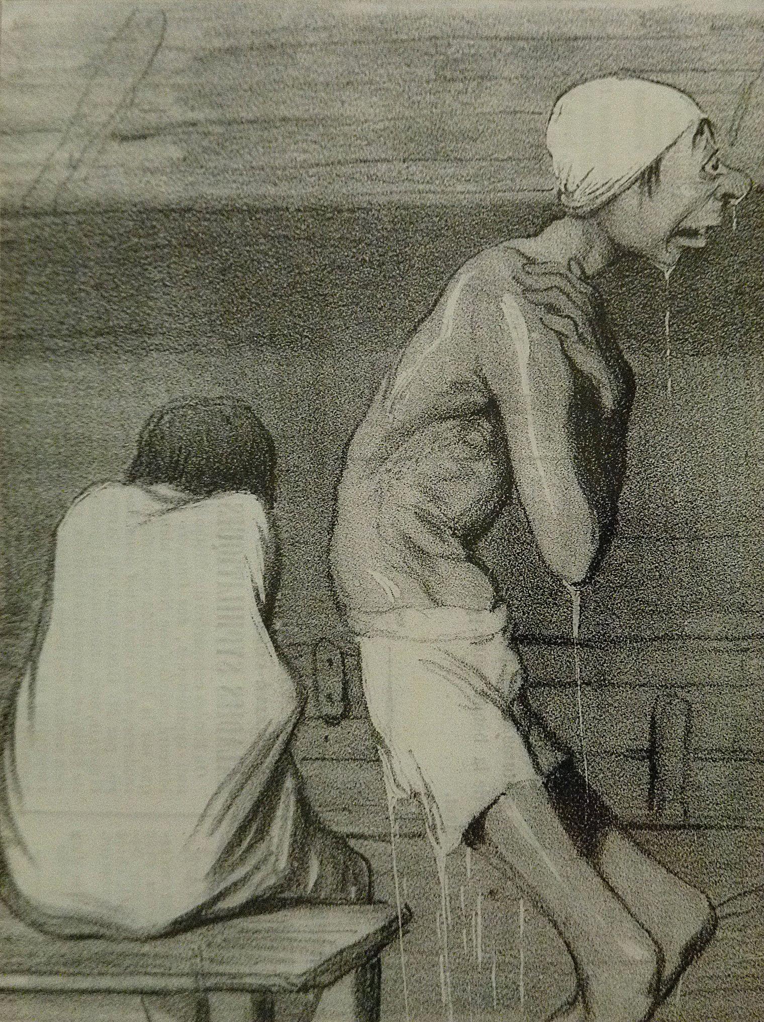 DAUMIER Honoré,1839 – Peur des Ecrevisses (Maison de Balzac) – Detail 6 – TAGS …
