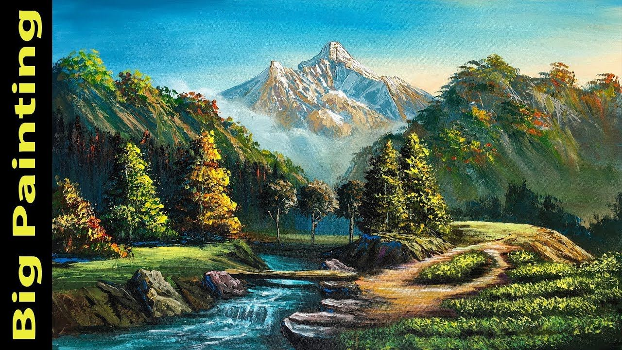 Painting A Beautiful Mountain Landscape With Acrylics Knife Painting Mountain Landscape Painting Beautiful Landscape Paintings Painting