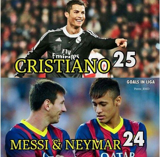 Goals In La Liga Cristiano Ronaldo 25 Goals Leo Messi And Neymar Jr 24 Goals Ronaldo Memes Messi Vs Ronaldo Cristiano Ronaldo Cr7