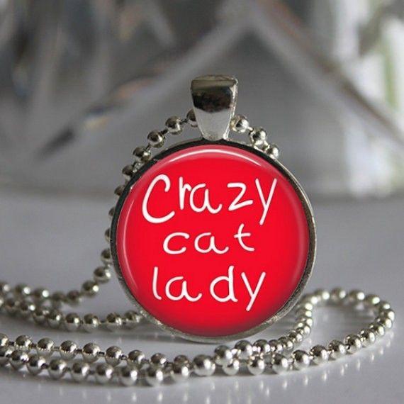 Crazy Cat Lady Round Glass Pendant Necklace