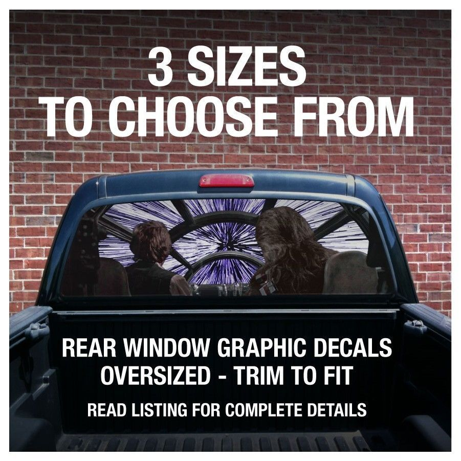 Rear window truck graphic decal star wars millennium falcon 3 sizes