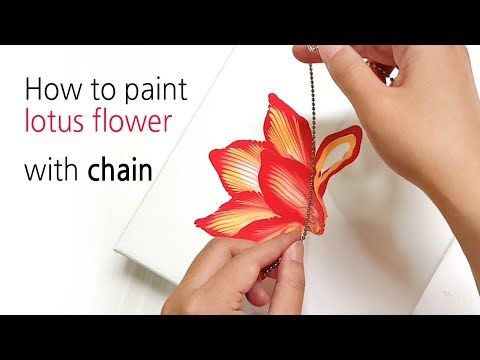 (165) Acrylic Pouring _ How to paint lotus flower