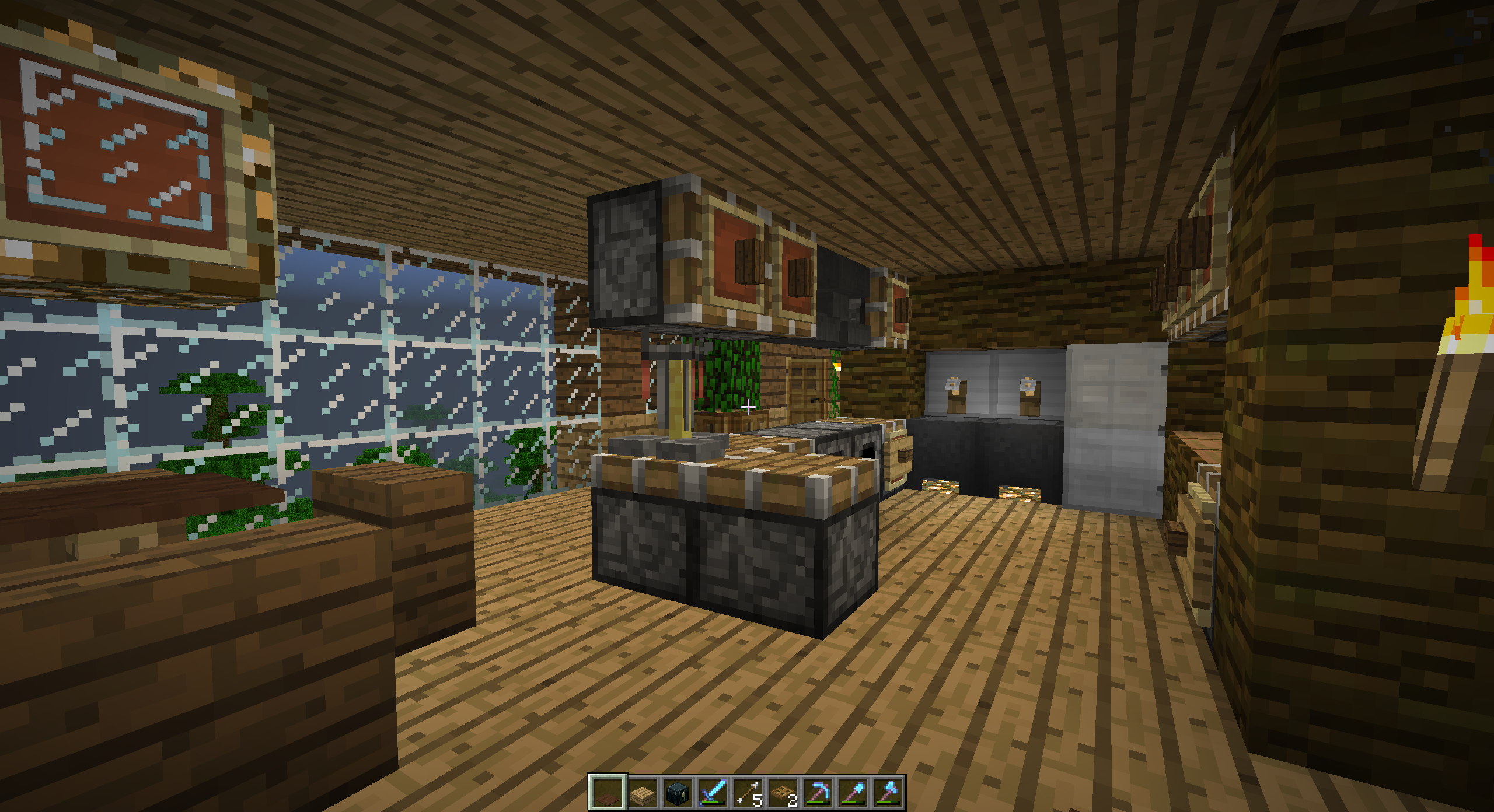 Kitchen Of A Treehouse I Built After The Design Of Keralis Minecraft Medieval Outdoor Decor Tree House