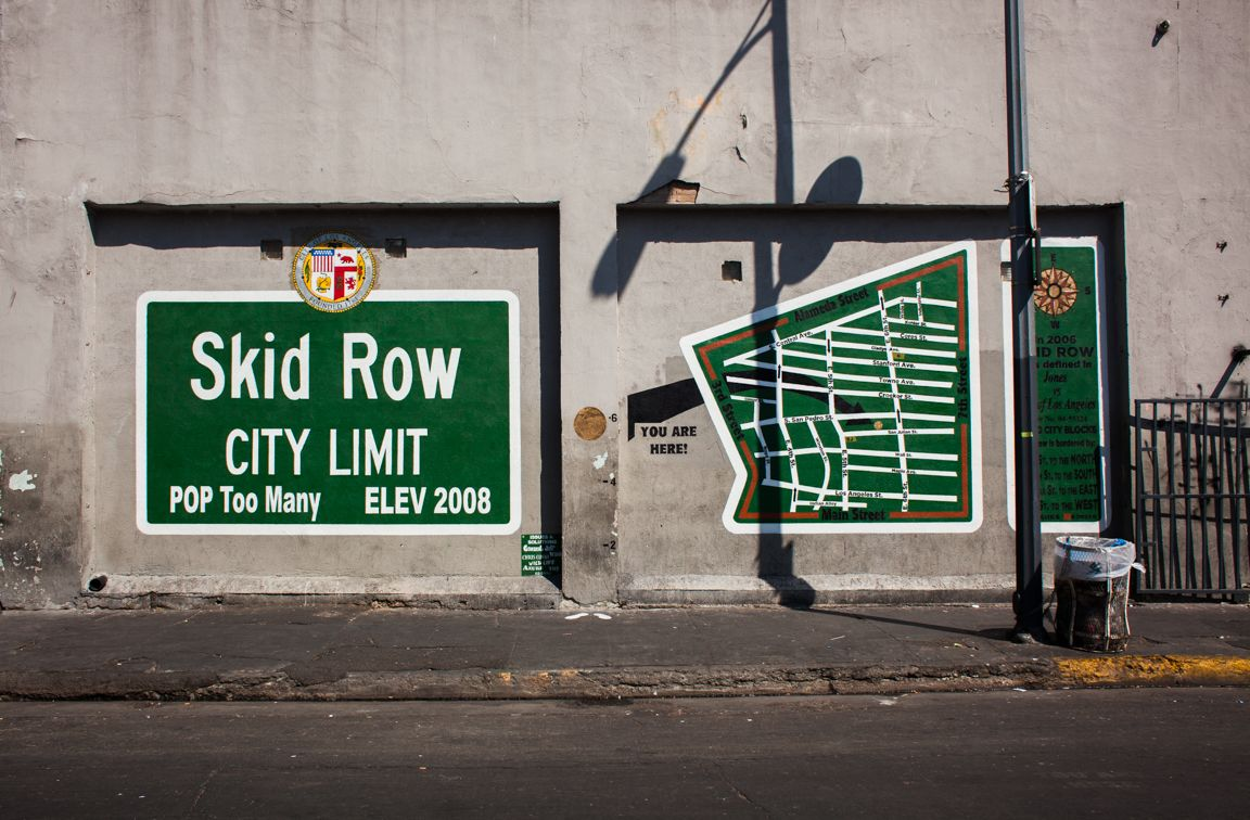 Skid Row City Limit Sign In Los Angeles Ca Skid Row The Row Mural