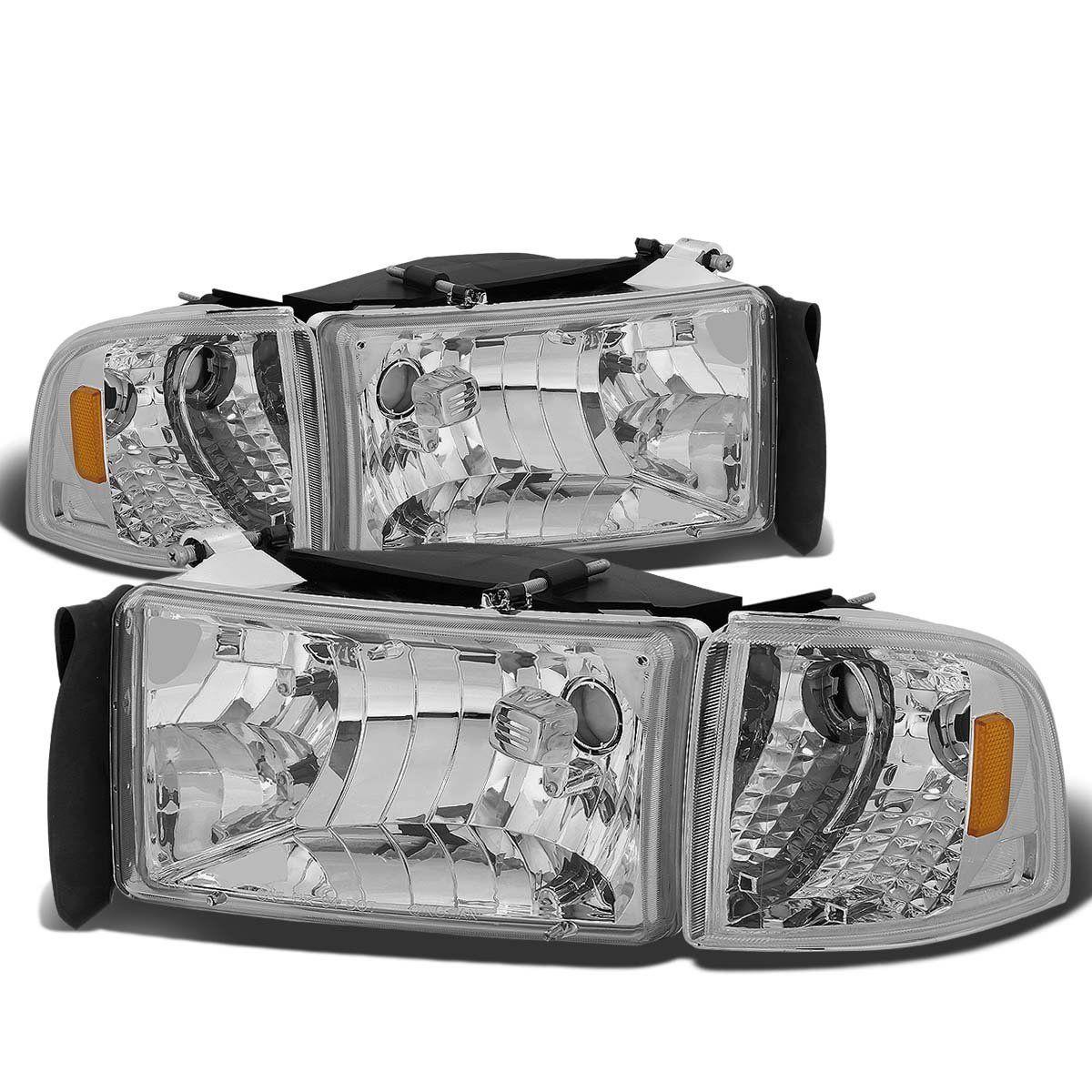 94 01 Dodge Ram 1500 2500 3500 Oem Style Crystal Headlights Chrome Dodge Ram Aftermarket Headlights Dodge Ram 1500