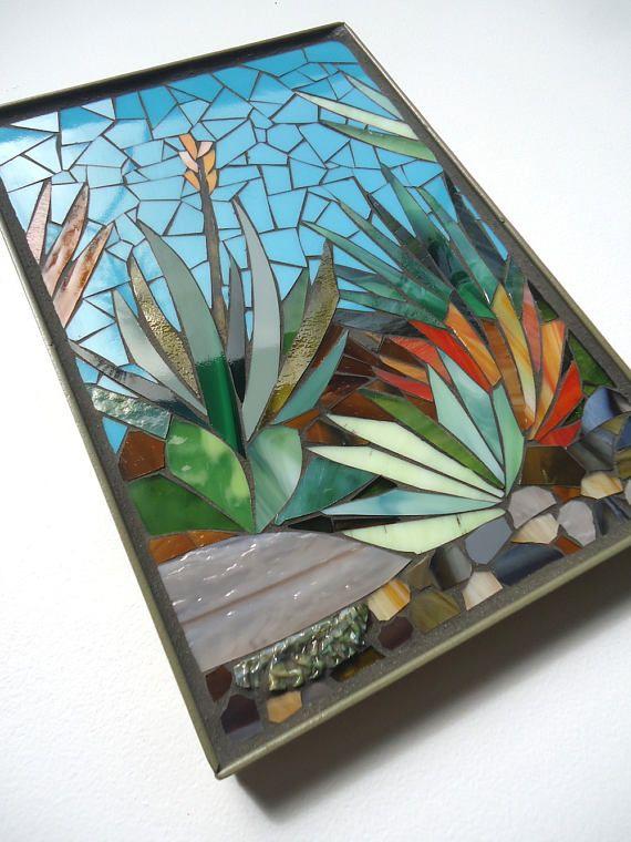 8x12 Mosaic Mini Panel Framed Succulent Desert Landscape