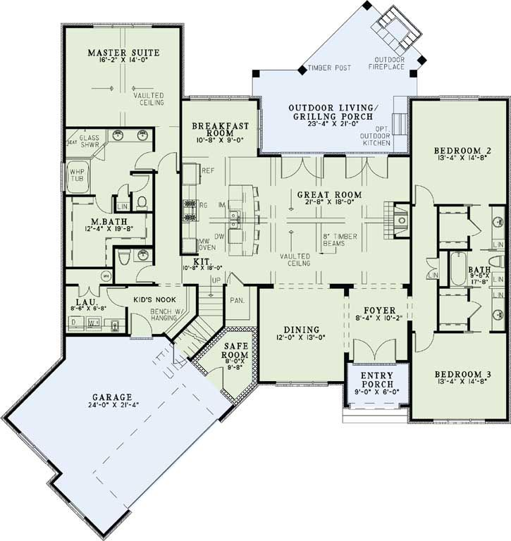 European Style House Plans 2408 Square Foot Home 1