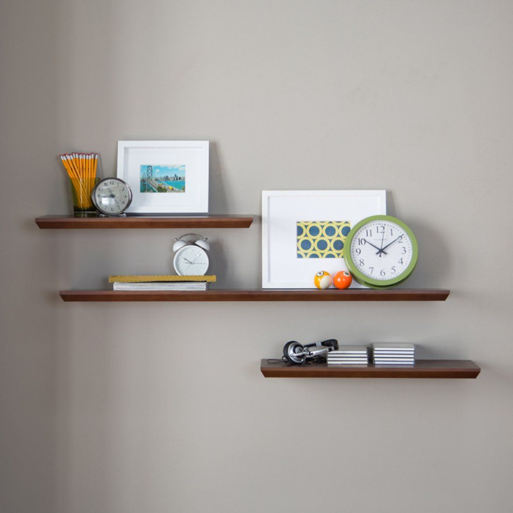 Belham Living Easy Mount Floating Shelves Set Of 3 Espresso Organize And Display With These