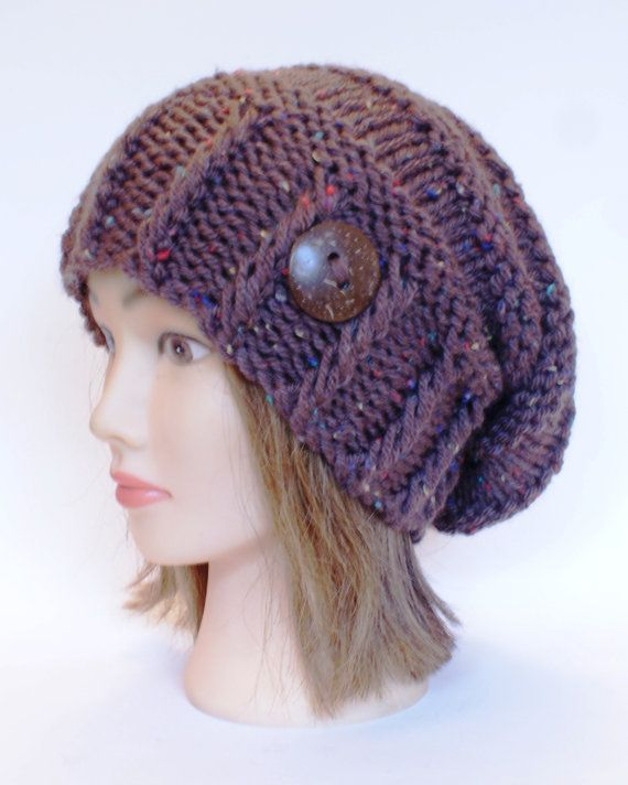 Knitted Brown tweed slouchy beanie hat women - irish hat - Slouch ...