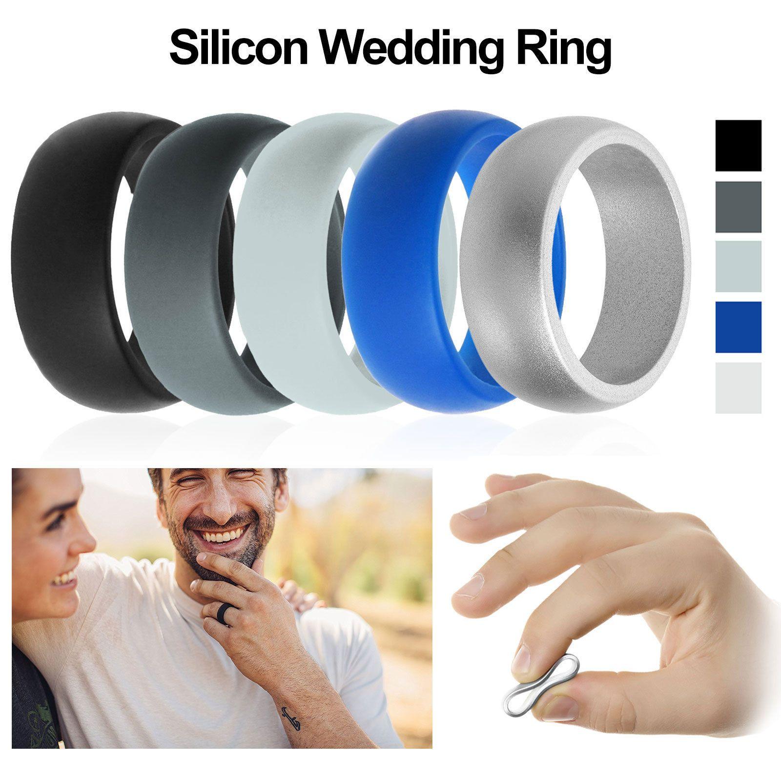 2f6ea5f554767 5x 1x Rubber Silicone Wedding Ring Band Sport Outdoor Flexible Men ...