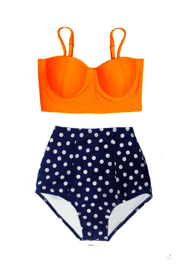 ec2fdf0ad9db5 Orange Underwire Top and Flora Navy Blue Polka dot High Waisted Waist  Bottom Handmade Women Swimsuit Bikini Bathing suit Swimwear S M L XL by  venderstore on ...