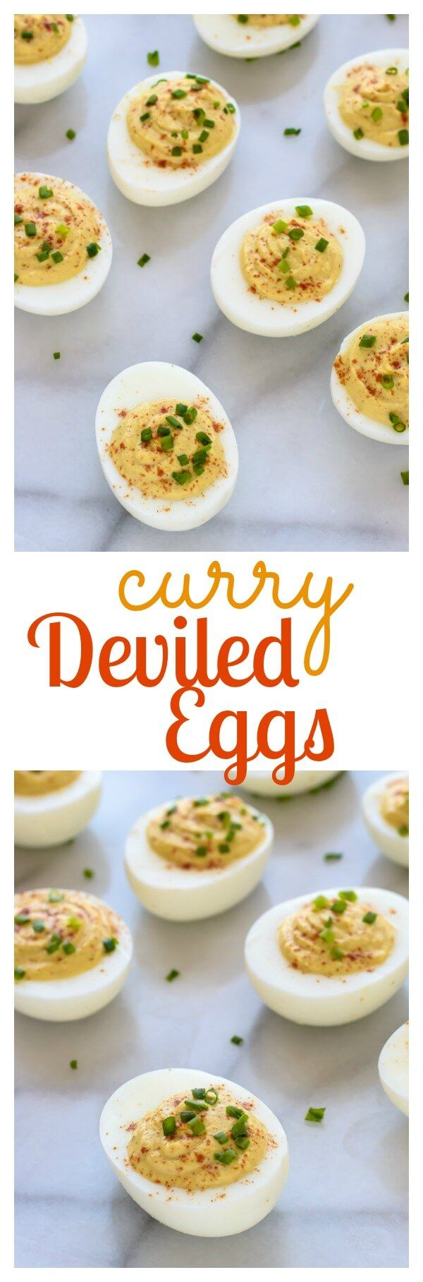 Curried Deviled Eggs. A yummy spin on classic deviled eggs that are a hit at any party! Perfect Easter recipe for entertaining or to use up those leftover Easter eggs.   www.wellplated.com @wellplated: