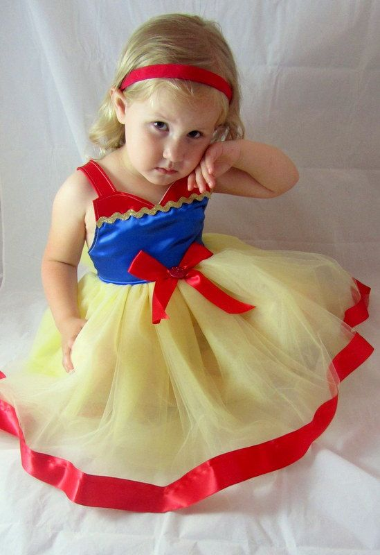 Snow White Tutu Dress Blue Red Yellow with sparkle by KnottedWear, $43.95